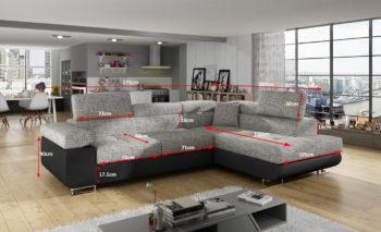 Kulmasohva ANTON Dimensions