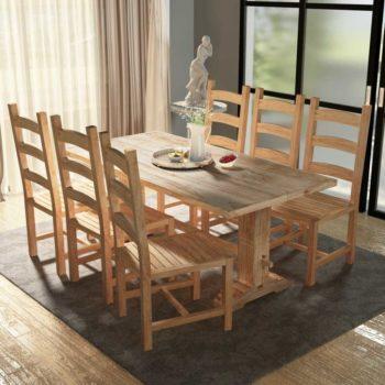 vidaXL Ruokapöytä ja tuolisarja 7 osaa Tiikki