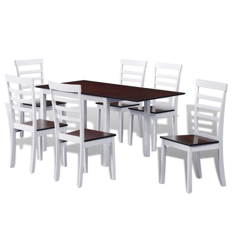 vidaXL Jatkettava ruokailuryhmä 7 osaa ruskea ja valkoinen
