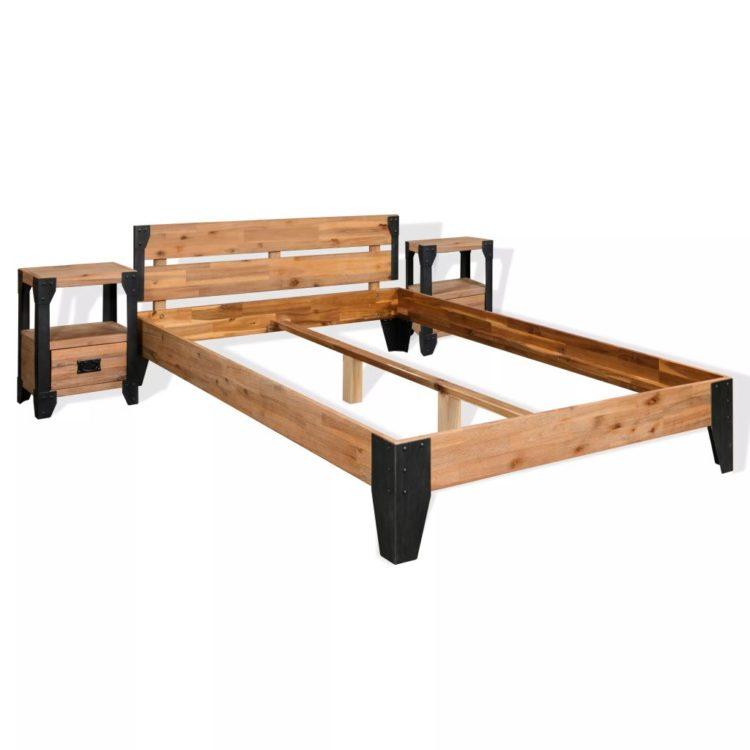vidaXL Sängynrunko ja 2 yöpöytää Kiinteä akaasiapuu ja teräs 140x200cm