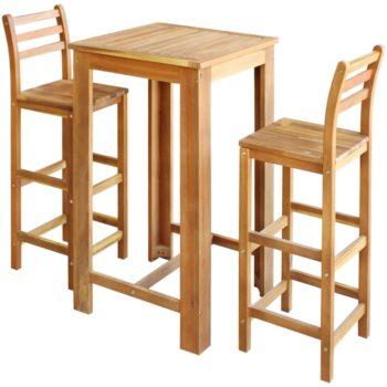 vidaXL Baaripöytä ja -tuoliryhmä 3 osaa kiinteä akaasiapuu