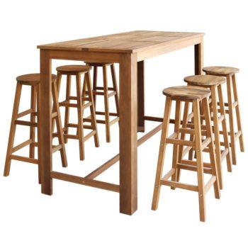 vidaXL Baaripöytä ja -jakkarat 7 osaa kiinteä akaasiapuu