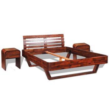 vidaXL Sängynrunko ja 2 yöpöytää kiinteä akaasiapuu 140x200 cm