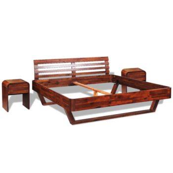 vidaXL Sängynrunko ja 2 yöpöytää akaasiapuu 180x200 cm