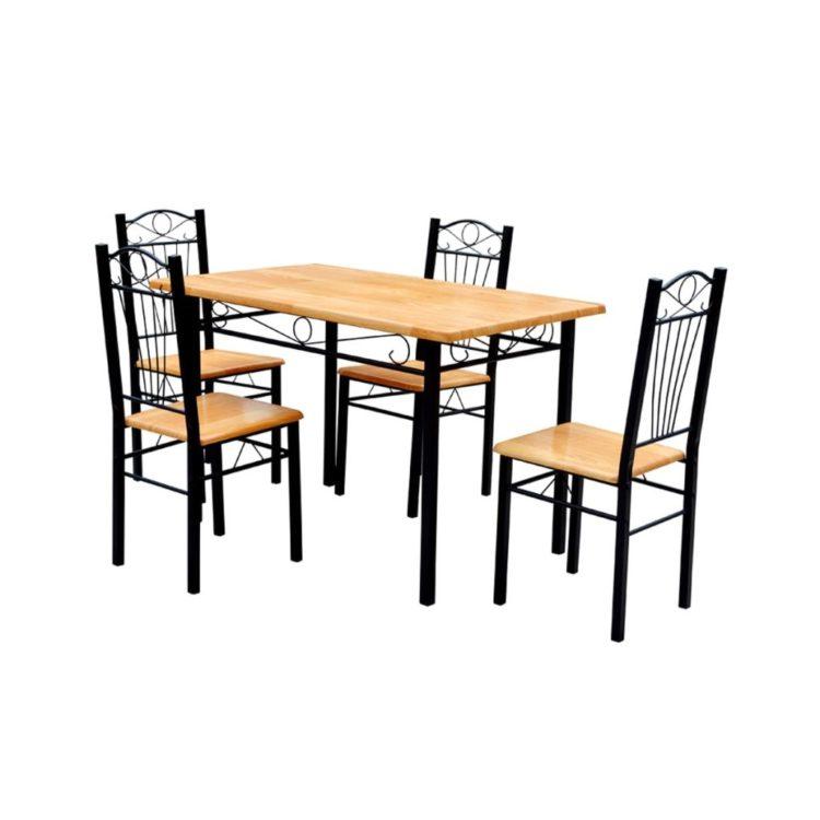 Ruokapöytä ja 4 Tuolia Vaalean Ruskea