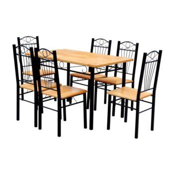 Ruokapöytä ja 6 Tuolia Vaalea Puu