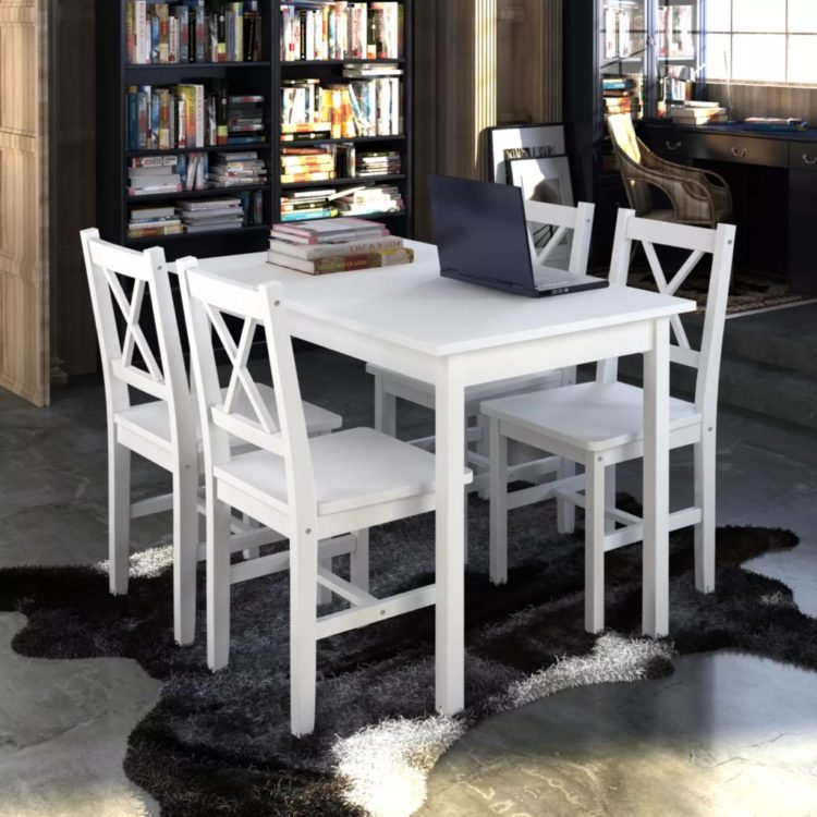 Puinen Pöytä ja 4 Puutuolia Valkoinen