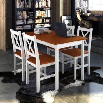 Puinen Pöytä ja 4 Puutuolia Ruskea