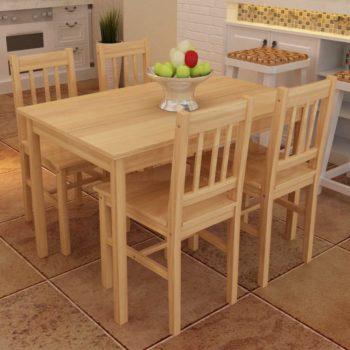 Puinen Ruokapöytä 4 Tuolia Puunvärinen