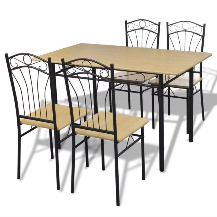 Ruokailusarja 1 x Pöytä ja 4 x Tuoli Vaalean Ruskea