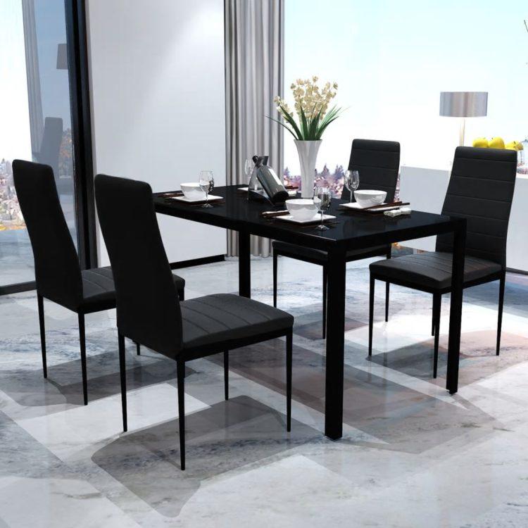 Moderni Ruokailuryhmä Pöytä ja 4 Tuolia Musta