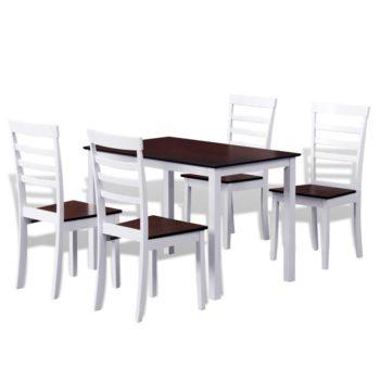 Ruokahuonekalusarja Täyspuinen Pöytä ja 4 Tuolia Ruskea / Valkoinen