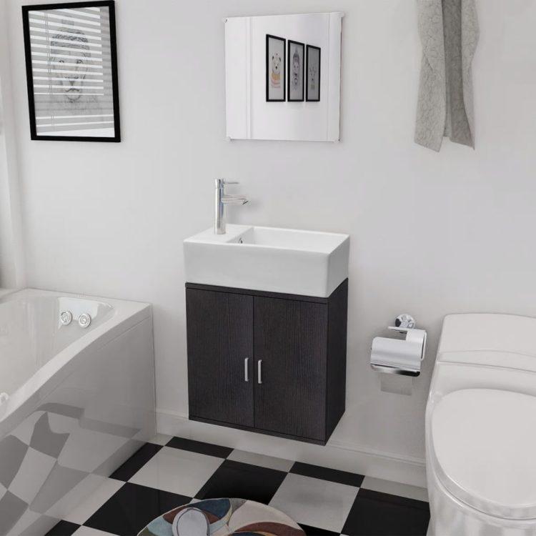 vidaXL 3-osainen Kylpyhuoneen Kaluste- ja Pesuallassarja Musta
