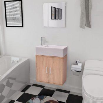 vidaXL 3-osainen Kylpyhuoneen Kaluste- ja Pesuallassarja Beige