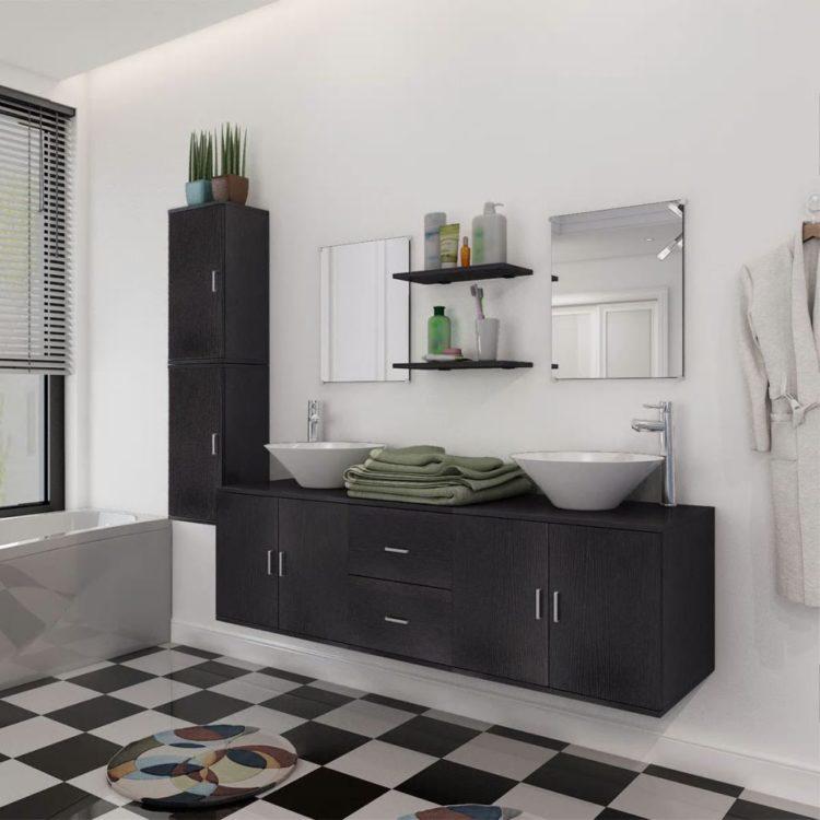 vidaXL 9-osainen Kylpyhuoneen Huonekalu ja Pesuallas Sarja