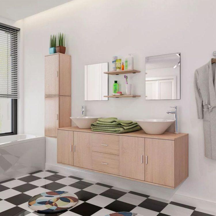 vidaXL 9-osainen Kylpyhuoneen Huonekalu ja Pesuallas Sarja Beige