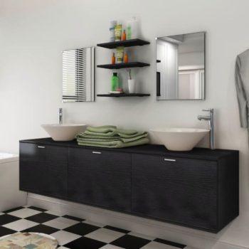 vidaXL 8-osainen Kylpyhuoneen Huonekalu ja Pesuallas Sarja Musta