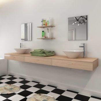 vidaXL Seitsemänosainen Kylpyhuoneen Kaluste- ja Pesuallassarja Beige