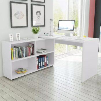 vidaXL Kulmapöytä 4 hyllyllä Valkoinen