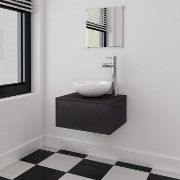 vidaXL 4-osainen Kylpyhuoneen Kaluste- ja Pesuallassarja Musta