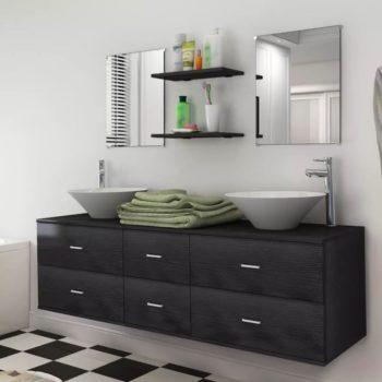 vidaXL 9-osainen Kylpyhuone Huonekalu ja Pesuallassarja Hanalla Musta