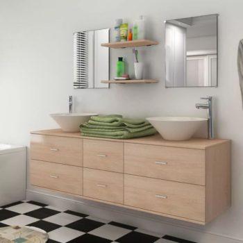 vidaXL 9-osainen Kylpyhuone Huonekalu ja Pesuallassarja Hanalla Beige