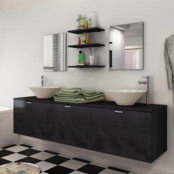 vidaXL 10-osainen Kylpyhuoneen Huonekalusarja Pesuallas ja Hana Musta