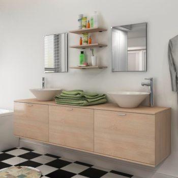 vidaXL 10-osainen Kylpyhuoneen Huonekalusarja Pesuallas ja Hana Beige