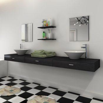 vidaXL 9-osainen Kylpyhuoneen Huonekalusarja Pesuallas ja Hana Musta
